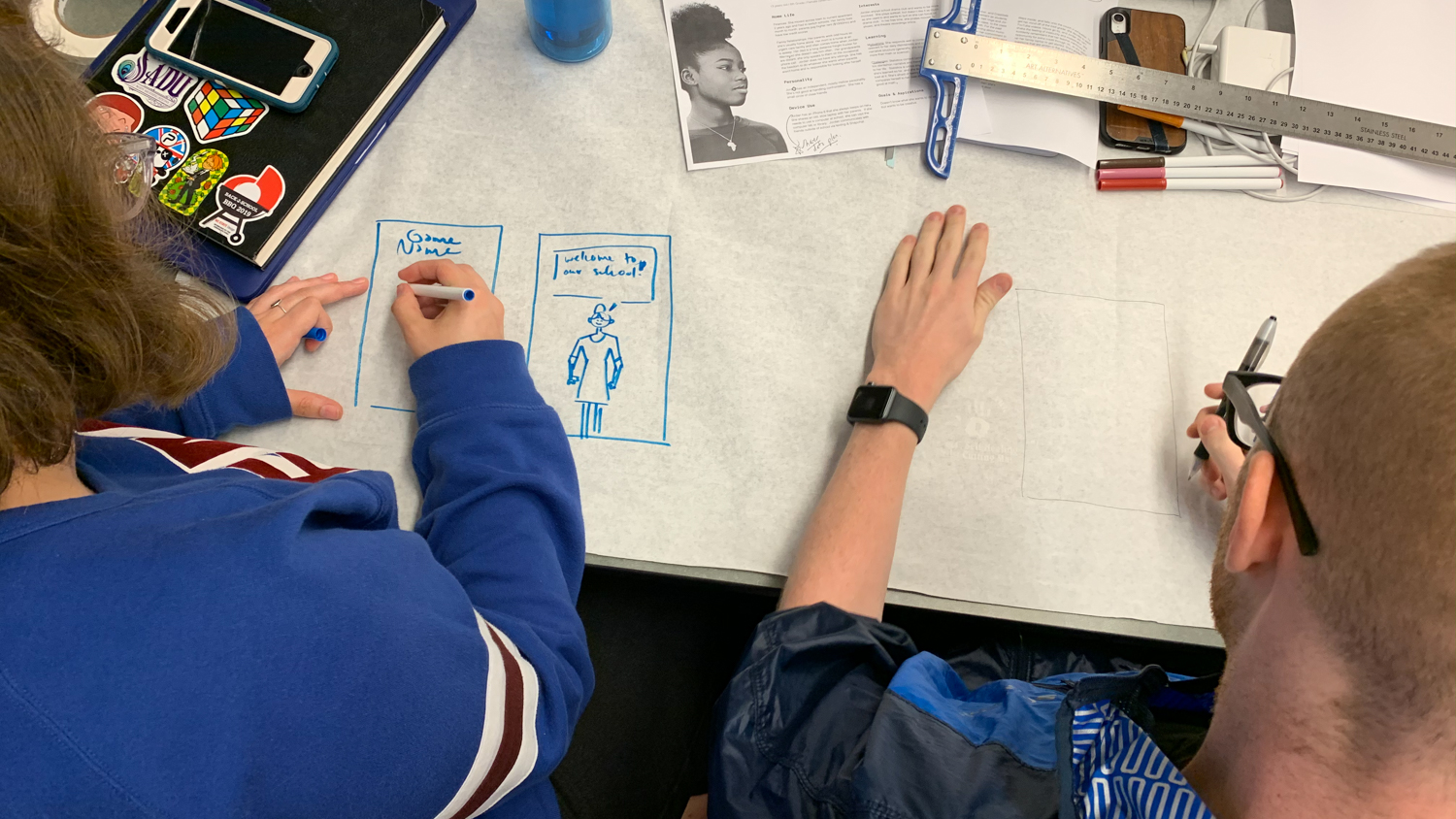 students drawing and ideating