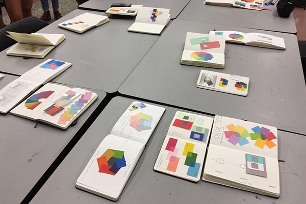 Sketchbook project review at NC State College of Design