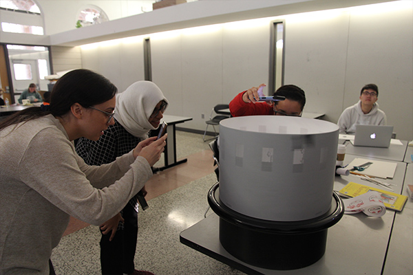 zoetrope being used by students at NC State College of Design