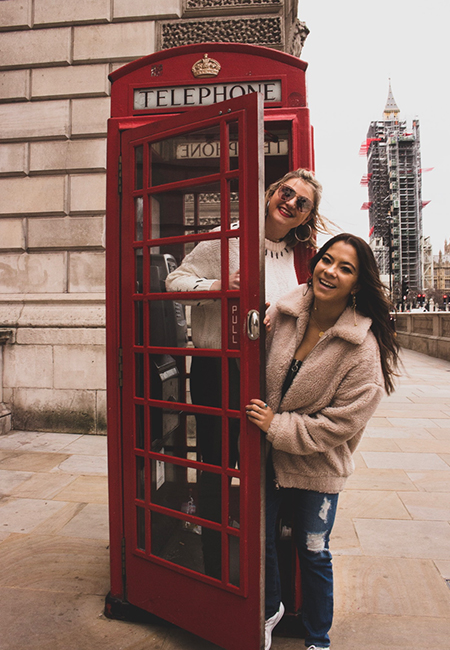 phone booth in london with NCSU students