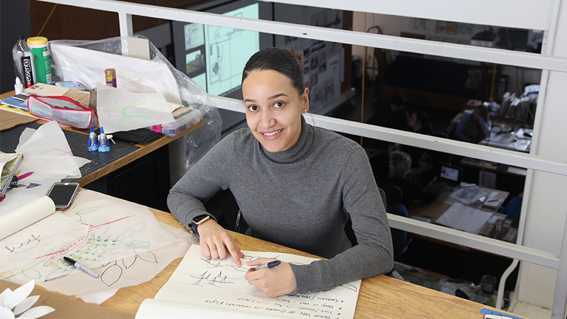 Sheyda Livingston architecture graduate student working in Biennale studio