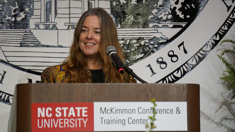Kathleen Kincaid giving the Commencement Address in May 2019