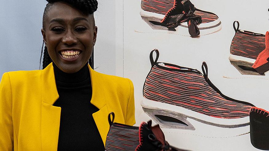 Pensole Woman holding sneaker design