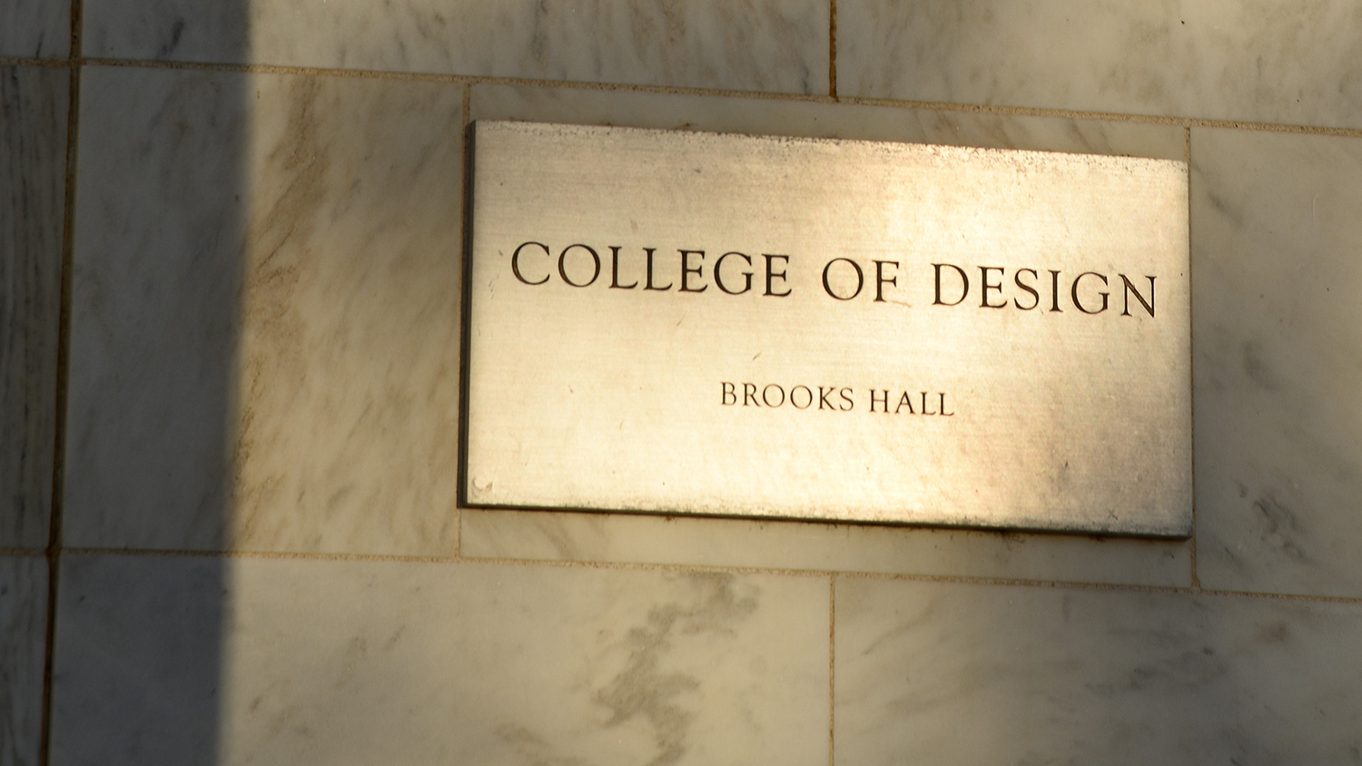 College of Design Brooks Hall plaque