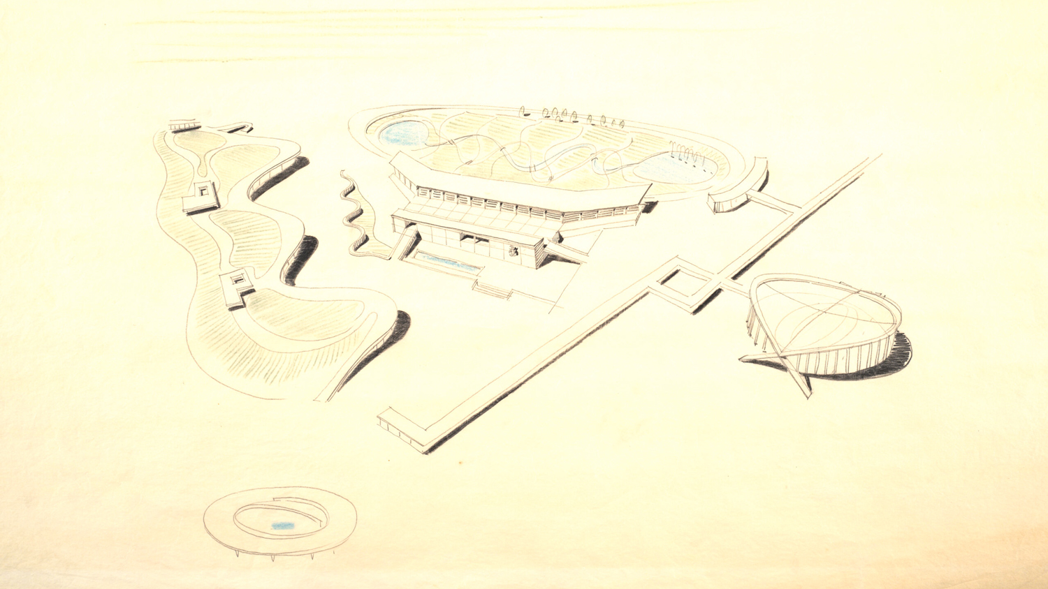 Arena, grandstand, and racetrack, North Carolina State Fairgrounds, Raleigh. Drawing by Matthew Nowicki, from the Special Collections Research Center, NC State University; Racetrack and observation building, North Carolina State Fairgrounds, Raleigh. Drawing by Matthew Nowicki, from the Special Collections Research Center, NC State University.